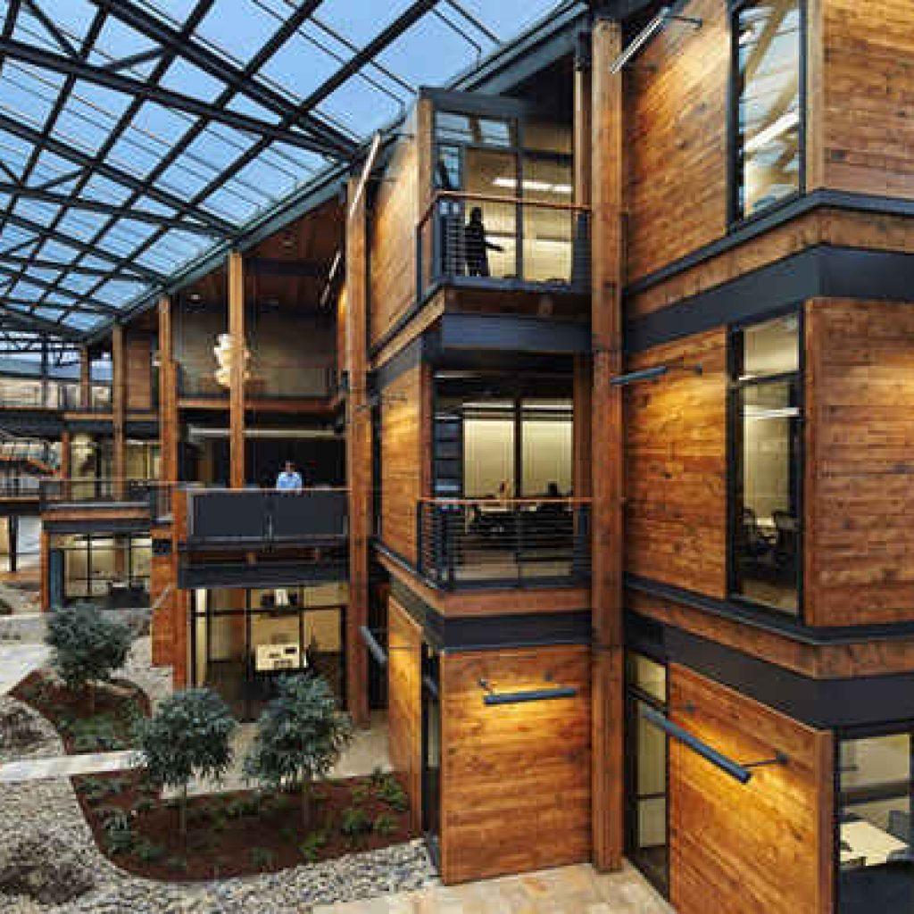طراحی نمای چوبی بیرونی ساختمان