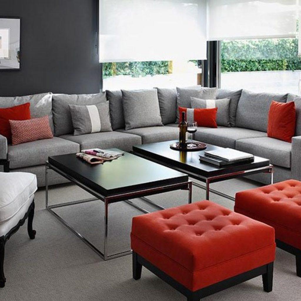 ترکیب رنگ قرمز و رنگ طوسی در دکوراسیون داخلی