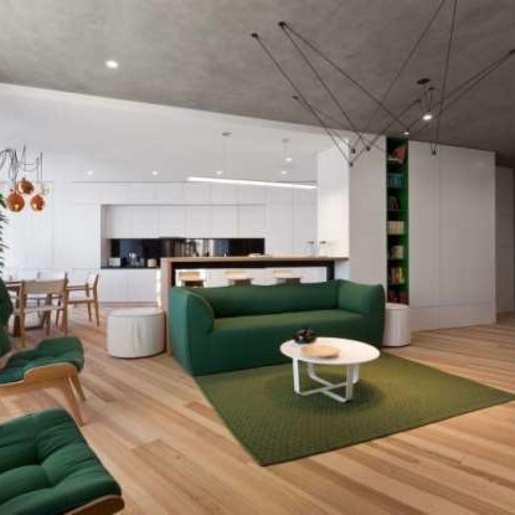 ترکیب رنگ سبز و رنگ طوسی در دکوراسیون داخلی