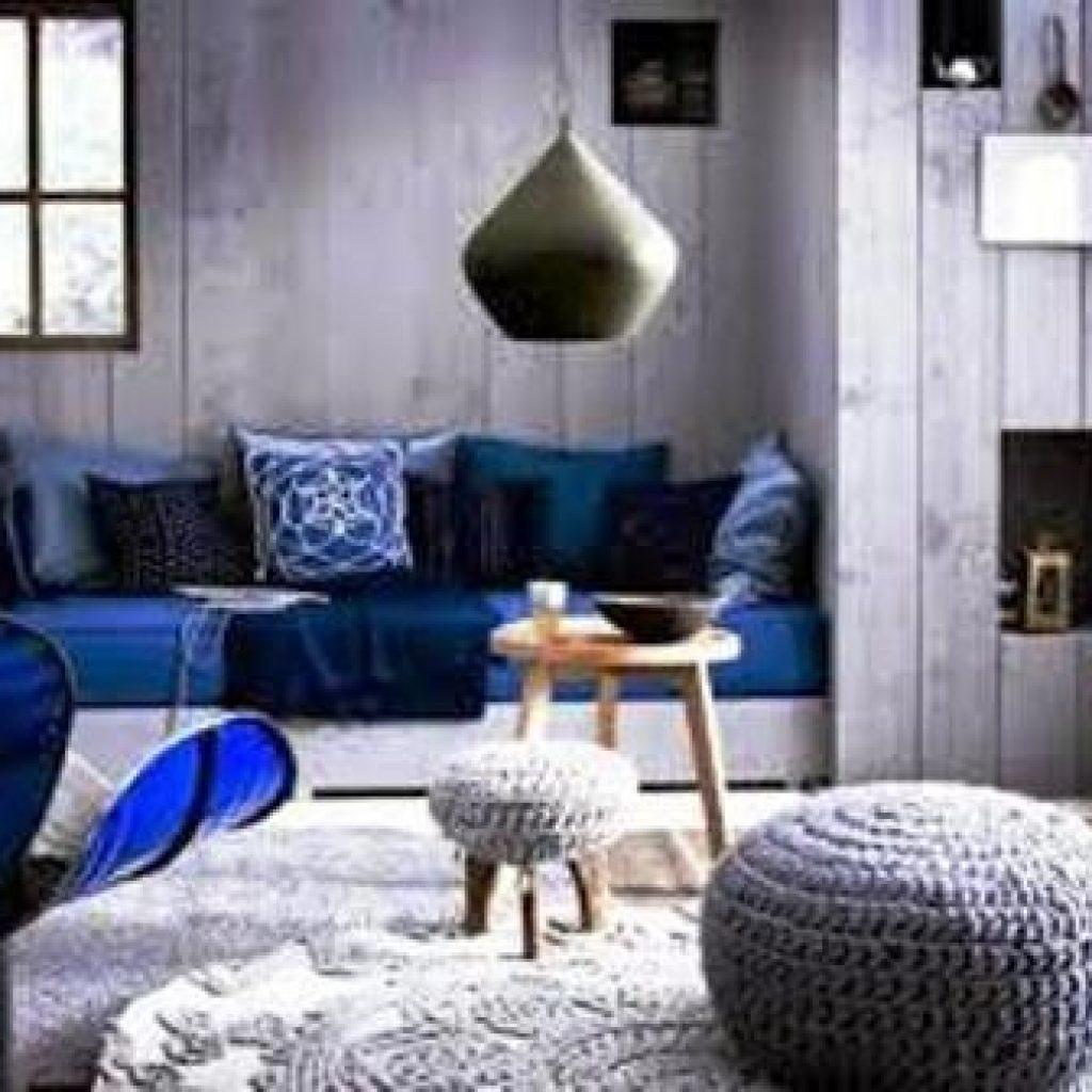 ترکیب رنگ آبی و رنگ طوسی در دکوراسیون داخلی