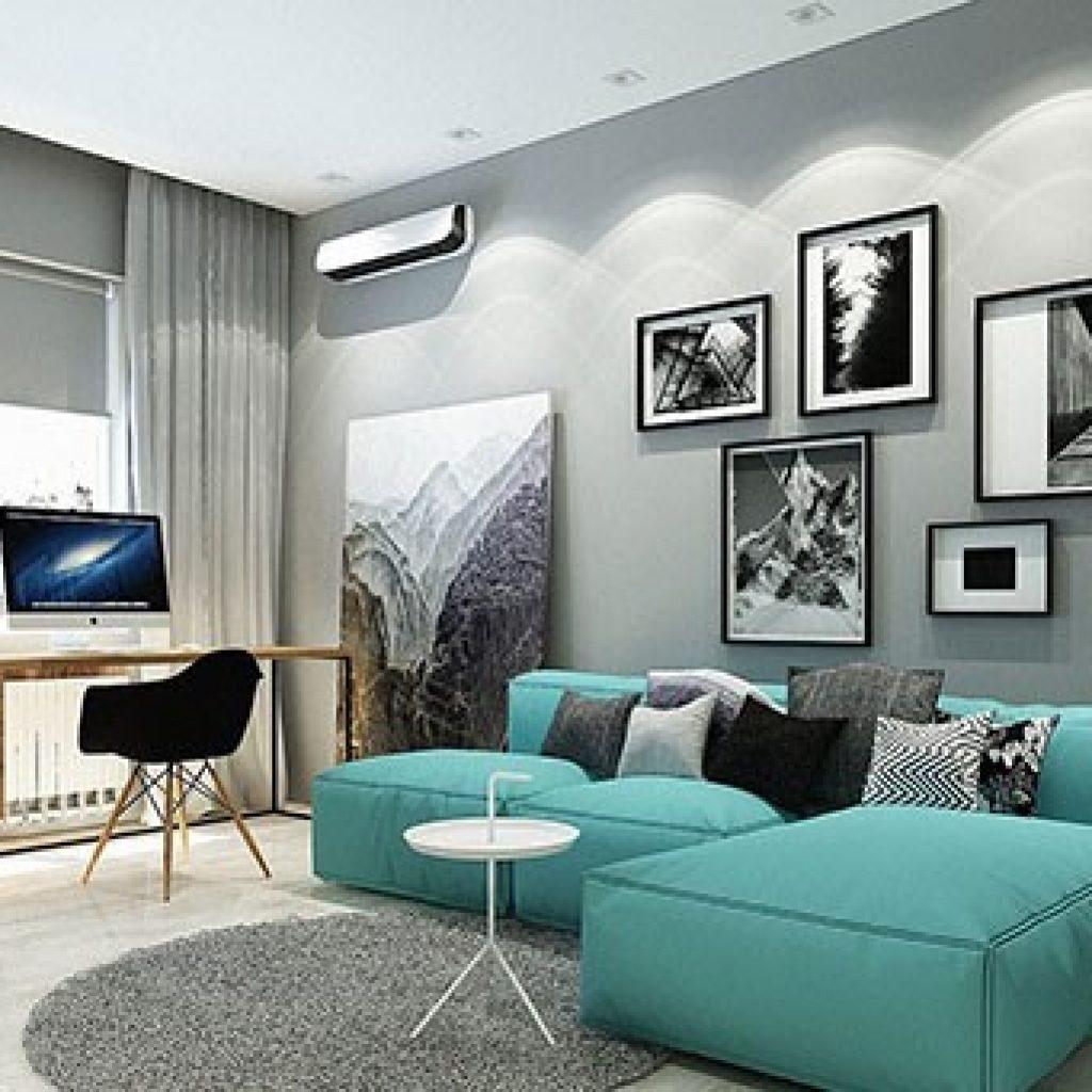 ترکیب رنگ آبی فیروزه ای و رنگ طوسی در دکوراسیون داخلی